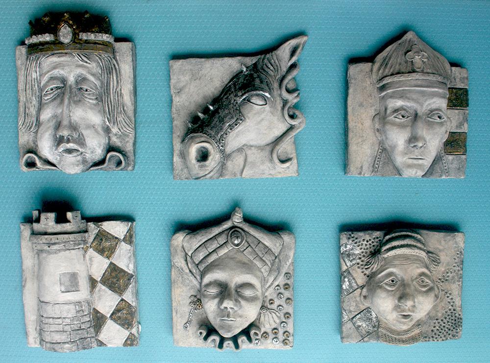 "Chessmen - 10""x10"" Hand Coloured Ceramic"
